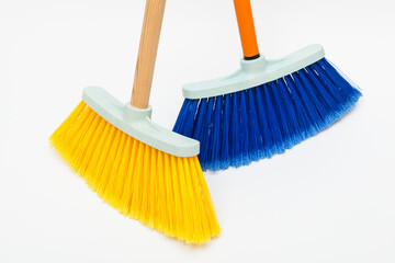 two cleaning brushes on white background