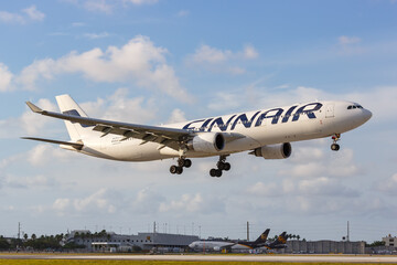 Finnair Airbus A330-300 airplane Miami airport in Florida