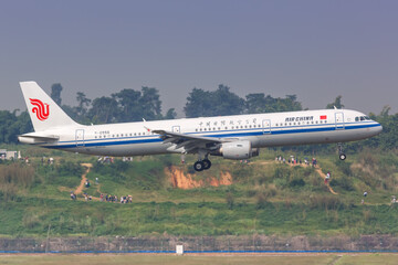 Air China Airbus A321 airplane Chengdu Shuangliu airport in China