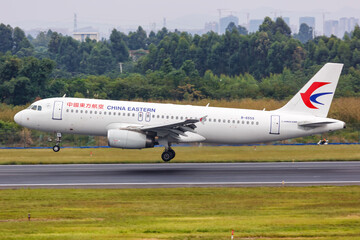 China Eastern Airlines Airbus A320 airplane Chengdu Shuangliu airport in China