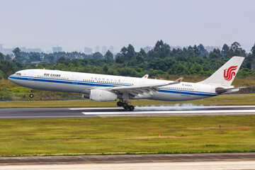 Air China Airbus A330-300 airplane Chengdu Shuangliu airport in China