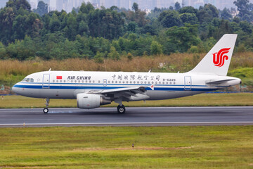 Air China Airbus A319 airplane Chengdu Shuangliu airport in China