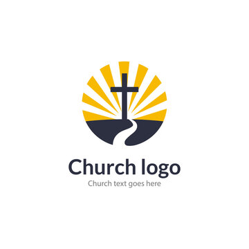 Logo church road cross Jesus mountain catholic dove religion. Worship pray church logo