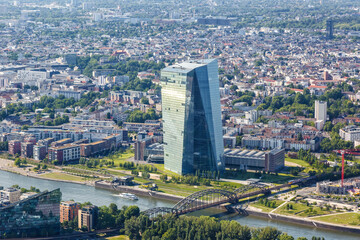 Frankfurt ECB European Central Bank skyscraper skyline aerial photo Germany Main river city