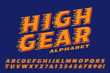 An Alphabet with Horizontal Streak Lines Indicating Movement, Speed, or High Velocity; Logo Style Font for Racing or Motorsports