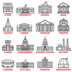 Fototapete - Government buildings icons set. Vector isolated outline illustrations
