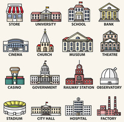 Fototapete - Government buildings icons set. Vector isolated colorful flat style illustrations