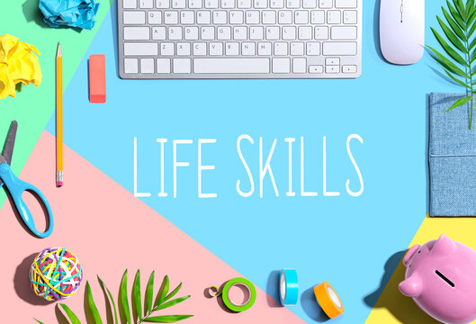 Life skills theme with office supplies and a computer keyboard