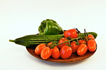 View of the vegetables on wooden plate
