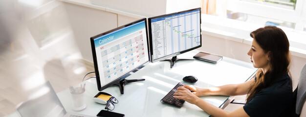 Gantt Chart Planner On Computer Screen. Scheduling