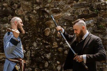 Viking derides his alter ego which challenges him by brandishing a katana in contemporary dress