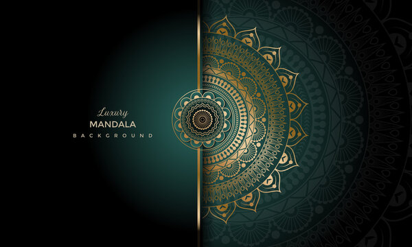 Luxury geometric gold gradient dark green mandala background. Design for any card, birthday, other holiday, kaleidoscope, yoga, india, folk, arabic. Indian pattern wallpaper.