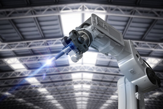 Welding robotic arm isolated