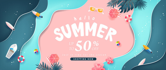 Summer sale design with paper cut tropical beach bright Color background layout banners template.Paper art concept.