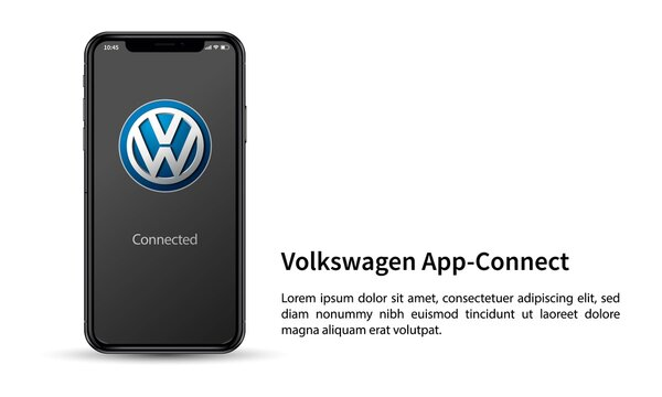 Apple iPhone and Volkswagen Car Play application for editorial use.