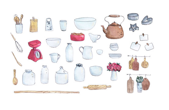 Happy cooking is a collection of high-quality hand-drawn watercolor and line art illustrations of tableware and kitchen  elements