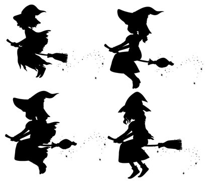 Witches in silhouette cartoon character isolated on white background