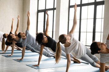 Group of young fit mixed race people standing in row in side plank with raised arm on floor mat, strengthening core muscles in Vasisthasana position, improving stability, working out in yoga studio.
