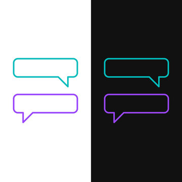 Line Speech bubble chat icon isolated on white and black background. Message icon. Communication or comment chat symbol. Colorful outline concept. Vector.
