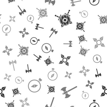 Set Wooden shield with crossed swords, Medieval axe, Japanese ninja shuriken and Compass on seamless pattern. Vector