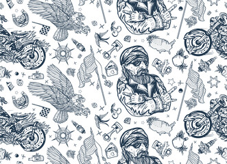 Bikers lifestyle pattern. Bearded biker man and motorcycle. American riders. Patriotic eagle, flags, maps. Racing sport art, spark plugs, motor. Traditional tattooing background