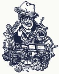 Mafia boss portrait. Crime man smokes cigar, gangster car, casino roulette, weapons, playing cards. Gangster leader. Old noir movie concept. Criminal retro cinema art