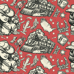 Wild West seamless pattern. Cowboy girl, train, sheriff star, guns and golden horseshoe. American western movie background. Old school tattoo style