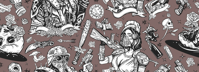 Post apocalypse. Post apocalyptic man warrior, soldier woman. Seamless pattern. People, weapon of dark future. Nuclear war background. Doomsday girl and gun, end of world