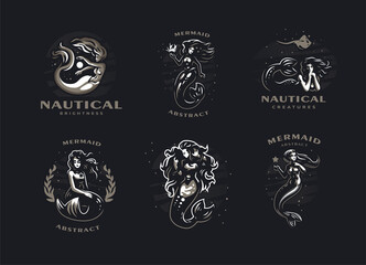 Set of images with mermaids.