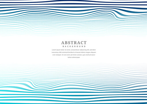 Abstract blue lines wave stripes pattern with copy space for text.