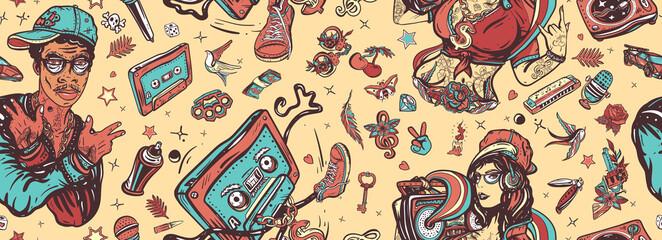 Audio cassette, break dance art. Street ghetto lifestyle. Pop culture musical background. Rap music seamless pattern. Old school tattoo style. Hip hop girl, swag woman. African American man rapper