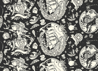 Pirate. Sea adventure seamless pattern. Captain, parrot, ship in storm, girl filibuster, compass, anchor, treasure island, swallows. Caribbean robbers. Traditional tattooing style. Marine background