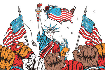 USA patriotic art. Symbol of protest, positions, elections, demonstrations, rallies. Fight for rights. Propaganda illustration. Statue of liberty, american flags and many fist raised in air
