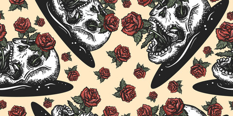 Skull and red roses flowers. Floral gothic, dark fairy tale background. Seamless pattern. Symbol life and death, beginning and end
