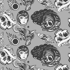 Retro sci-fi art. Old fantastic movie background. Space adventure retro seamless pattern. Dead spaceman, astronaut, gun blaster