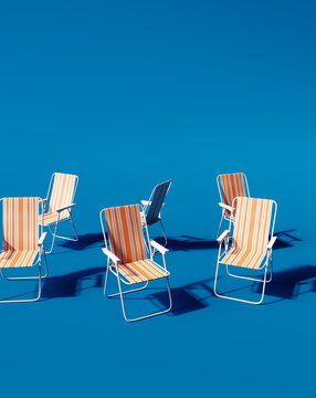 Beach chairs on blue background. Summer vacation concept. 3d rendering