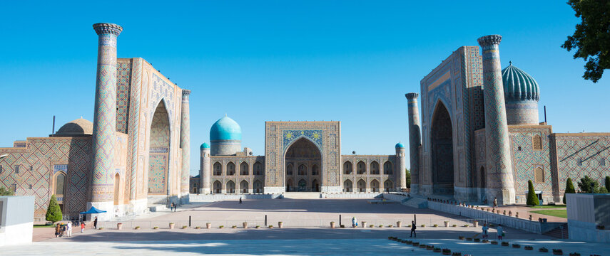 Registan in Samarkand, Uzbekistan. It is part of the Samarkand - Crossroad of Cultures World Heritage Site.