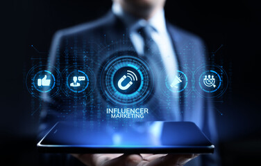 Influencer marketing Social media advertising business concept on screen.