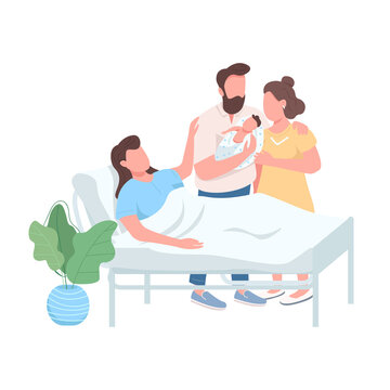 Surrogate mother flat color vector faceless character