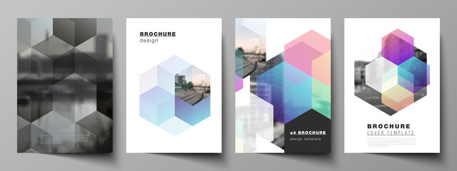 Vector layout of A4 format cover mockups design templates with abstract shapes and colors for brochure, flyer layout, booklet, cover design, book design, brochure cover.