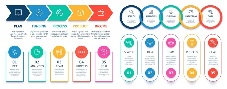 Process steps infographic chart. Business diagram step template, infographic banner and infochart information number, vector illustration