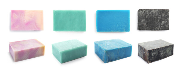 Wall Mural - Set of soap bars on white background, views from different sides. Banner design