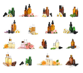 Set with bottles of different essential oils on white background
