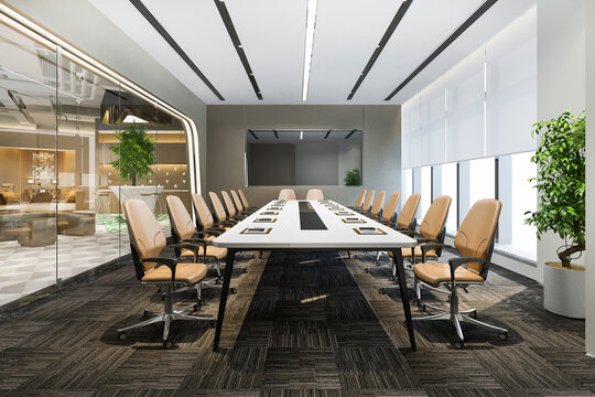 3d rendering business meeting room on high rise office building near reception