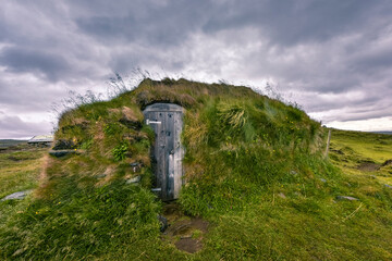 Little grassy house in the remote Icelandic Highlands, Iceland