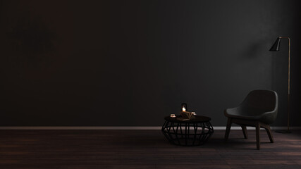Modern luxury dark living room interior background with grey armchair in night light, dark room interior mock up, black empty wall mockup, vintage living room mockup, 3d rendering