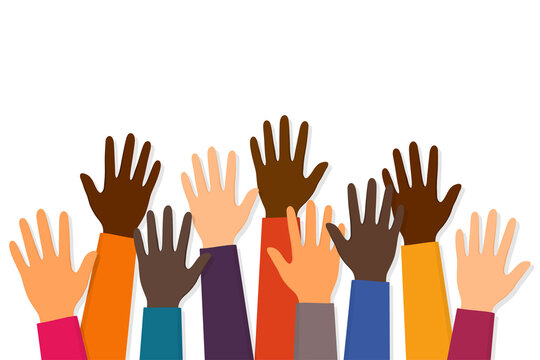 Stop racism. Black lives matter. Raised up hands of people with different skin colors. Justice and no racism concept