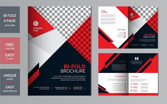 Corporate bi-fold brochure design template. business template for bi fold brochure layout. Creative concept folded flyer or bifold brochure with graphic elements.