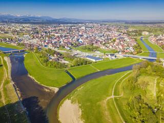 Obraz Czarny and Bialy Dunajec Rivers meeting in Nowy Targ - fototapety do salonu