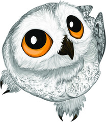 Canvas Prints Owls cartoon white polar cartoon owl bird on the tree vector illustration cute funny